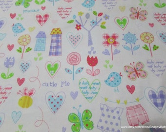 Flannel Fabric - Cutie Pie  - 1 yard - 100% Cotton Flannel