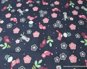 Flannel Fabric - Cherry Blossom Birds - 1 yard - 100% Cotton Flannel