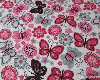 Flannel Fabric - Butterfly Flowers - By the yard - 100% Cotton Flannel