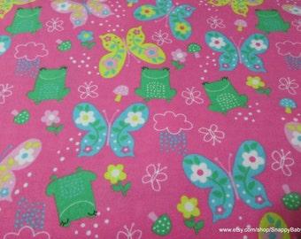 Flannel Fabric - Frogs & Butterflies - 1 yard - 100% Cotton Flannel