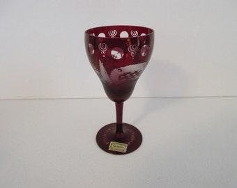 Beautiful Egermann Ruby Wine Glass