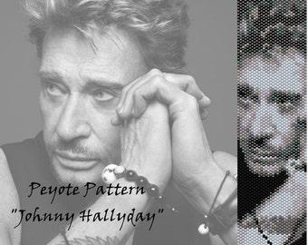 "Peyote pattern  for bracelet cuff  ""Johnny Hallyday"""