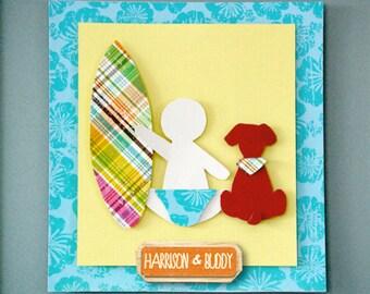 "Handmade Baby Surfer & Buddy. 8x10"" Personalised Nursery Decor."