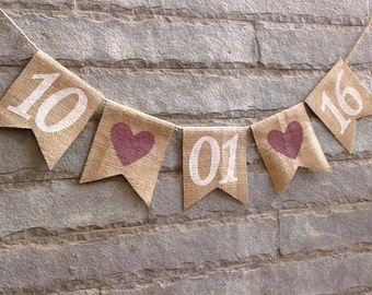 Save The Date Burlap Banner – Wedding. Engagement Banner - Photography prop - Cottage Chic, Rustic, Wedding Decoration.