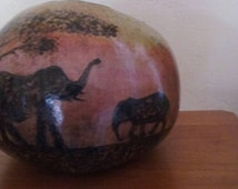 Handpainted handcrafted gourd bowl with cut down front Africa African scene elephant sunset woodburning acrylic paint varnish inside and out