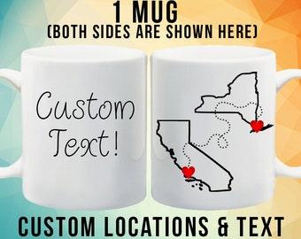 Long Distance Mug. Friendship Mug. Choose your own text!