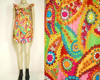 70s Vintage Psychedelic Mini Dress Flutter Sleeves Retro Vibrant Paisley Hippie Rainbow Vtg 1970s Size XS-S