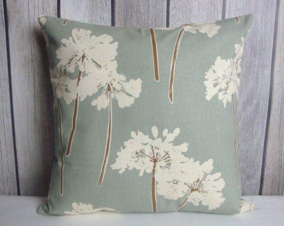 Floral Pillow. Blue Grey Pillow. Dandelion Pillow. Cream Pillow. Pillow Cover