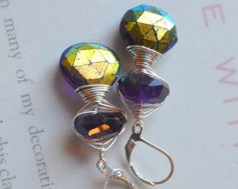 ON SALE amethyst earrings, purple earrings, boho chic earrings, silver earrings, dangle earrings, bohemian earrings, gift for her