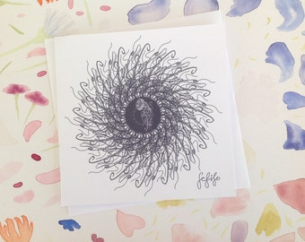 Jellyfish Swirl 360 Hand Drawn FeFiFo Illustration Digitally Printed A Symmetry Any Occasion Birthday Card Blank inside Black and White