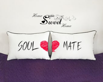soul mate pillowcase sets-personalized wedding gift-20x30 husband and wife pillow-valentines day gift for girlfriend-engagement gift idea