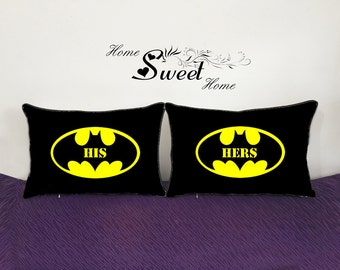 bat man pillowcase-custom wedding gift for couple-his hers pillow-valentines day gift for boyfriend-engagement gift for fiance-Gotham pillow