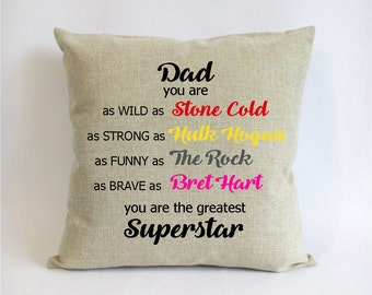 WWE father daughter gift-Xmas gift from daughter-gift for son from dad-stone cold,hulk hogan,the rock,bret hart pillowcase-dad birthday gift