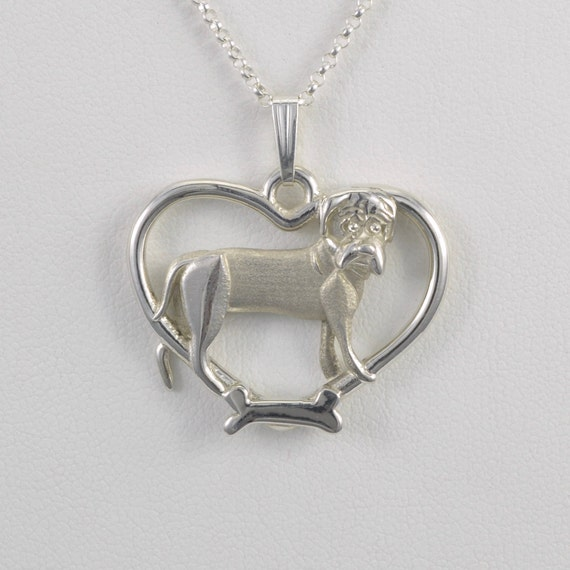 Sterling silver bull mastiff pendant w 18 sterling chain for Just my style personalized jewelry studio
