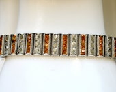 Sterling Silver Leach & Miller Topaz and Clear Crystal Bezel Set Bracelet Vintage