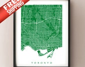 Toronto Ontario Map Print - Vertical Orientation - Choose your colour and size