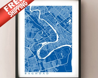Baghdad Map Print - Iraq Poster Art