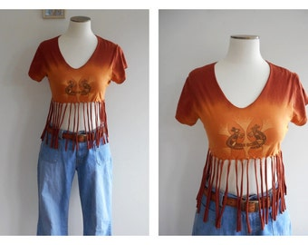 SALE Dreaming ABORIGINAL Upcyled Tee // Ombre Refashioned Tee // Fringed Sleeveless T-Shirt // Boho Tank // Fringe CROP Top // Size: M