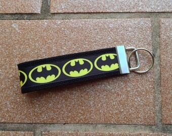 Batman Ribbon Key Fob - Batman Keychain - Ribbon Wristlet - Ribbon Keychain - Batman Key Fob - Superhero Keychain
