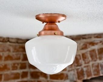 Semi Flush Solid Copper 9in. Opal White Schoolhouse Shade Flush Mount Industrial Modern Ceiling Lighting Edison