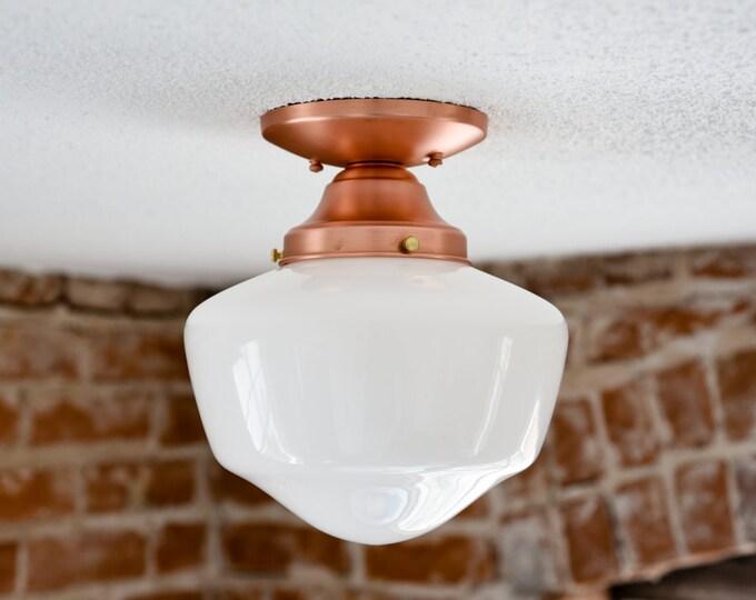 "Semi Flush Solid Copper 9"" Opal White Schoolhouse Shade Flush Mount Industrial Modern Ceiling Lighting Edison"