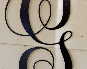 """12 inch Black Script Metal Letter """"G"""" Door or Wall Hanging"""