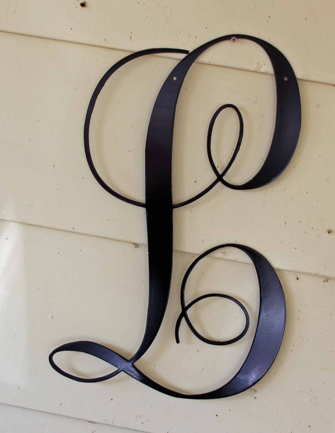 12 inch black script metal letter l door or wall for Black wall letters