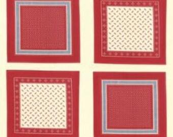 Polka Dots and Paisleys Bandana Blocks Ivory Red - 1/2yd