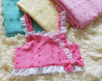 Gingham toddler crop top 4 colors.