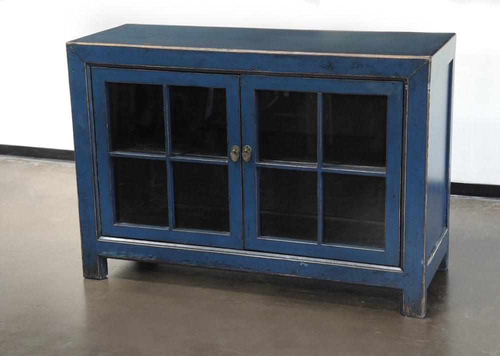 Small Sideboard Cabinet With Glass Doors And Blue By