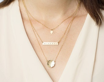 Set of 3 layered necklaces - personalised layering necklaces - gold bar necklace - initial necklace - hammered disc - necklace gift set