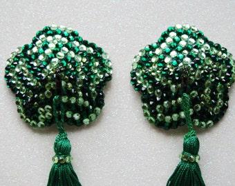 Green crystal acrylic nipple pasties w/ spinning tassels