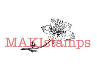 Cherry blossom rubber stamp / Flower rubber stamp / Unmounted rubber stamp or cling stamp (160306)