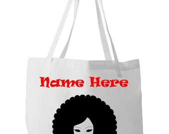 Personalised Reusable Shopping Long Handle Tote Bags - Retro Afro Style