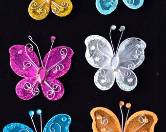 6 pc Multi Colored  Sheer Nylon Glitter Tiny Small Stocking Metal Wire Butterfly with Rhinestones Hair Bows 505161