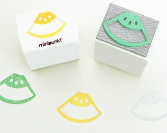 Stamp with honeydew melon pieces