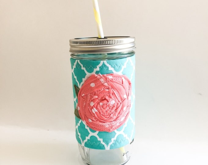 Turquoise and Pink Shabby Chic Rose Mason Jar Tumbler 24oz with Insulated Mason Jar Cozy BPA Free Straw