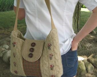 shoulderbag,purse, crossbody,handmade, feltedwool,plaid, repurpose, recycle, tan,flowers