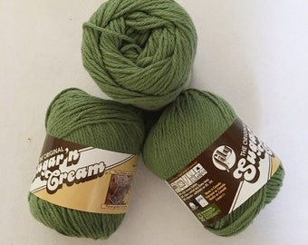 Sugar'n Cream Yarn by Lily 4 ply Worsted  Sage Green Lot of 3