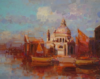 Venice  Cityscape Large Original Handmade oil Painting on Canvas  One of a Kind Impressionism Signed with Certificate of Authenticity