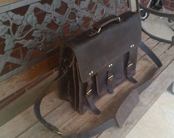 """16"""" inches Rugged Leather Briefcase Satchel Messenger Laptop Bag  Large"""