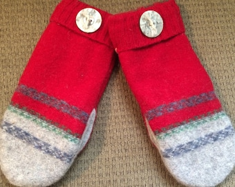 B11.   thick felted wool mittens  lined with fleece   size medium