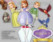 Editable Sofia The First Party Centerpiece Cake Topper, Princess Sofia Party Cake Toppers
