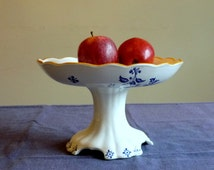 Antique cake stand, pedestal fruit bowl, blue and white dish, Boch Frères Keramis Paon, BFK dinnerware service