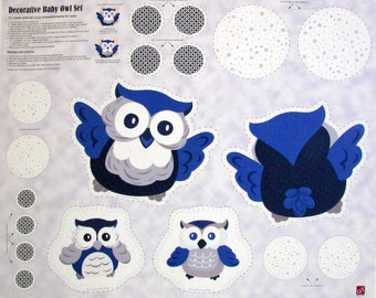 Baby Boutique Owl Pillow Craft Fabric Panel From Quilting Treasures Sold By the Panel