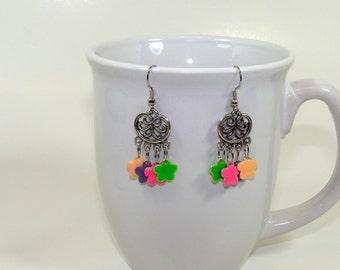 Earrings. Multi color earrings. Pink earrings, green earrings, peach earrings, lavendar purple earrings. Chandelier dangling earrings.