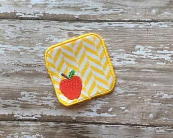 2.5 Inch Teacher Apple Patch perfect for monograms - 4 x 4 -  In The Hoop - DIGITAL Embroidery Design