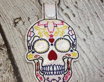 Sugar Skull - Dia De Los Muertos - Day of the Dead - Snap Tab - Key Fob - Embroidery Design -   DIGITAL Embroidery Design