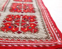 Vintage Handmade Linen Embroidered Table Cloth Doily, Ethnic Cloth, Ethnic Home Decor, Eastern European Decor, Bulgarian Embroidery