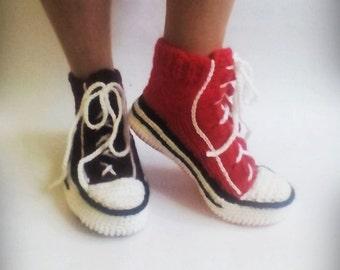 Bordeaux Converse Slippers, Crochet Converse, Knitted Converse, Knit Slippers, Woman Converse Slippers, Crochet Sneakers, Knitted Sneakers